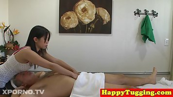 Asian babe is working as a masseuse and often having casual sex with her elderly clients